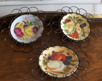 Hand Painted Fruit Plates/Porcelain/Plaques /Japan/Wall Hanging/Cottage Chic Set of 3