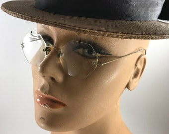 Pair of Vintage Goldtone Eyeglasses/Spectacles with Very Magnified Lenses and Loop Earpieces