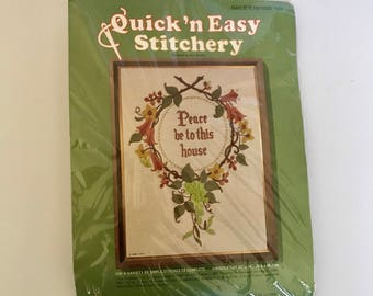 "Quick N Easy Stitchery Needlepoint Canvas kit ""Peace Be to This House"" 1970's"