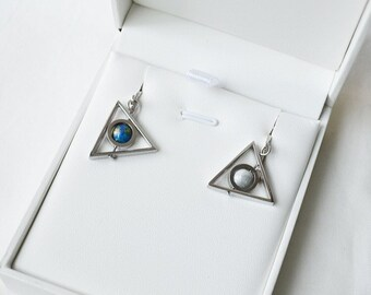 Earth Moon Triangle Earrings