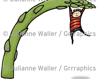 People with Food: asparagus digital printable clipart