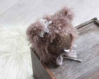 Fuzzy Baby Bear Hat / Newborn Photo Props / Animal Hats / Knitted Baby Hats / Newborn Bonnet / Unique Baby Shower Gifts / Hand Knitted Hats