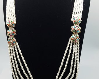 Pearl and Navratan Stones Necklace Set w/ Choker, Earrings & Tikka
