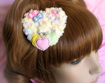 MADE TO ORDER-Yellow Two Way Fuzzy Clip-Fairy kei accessory-Sweet Lolita Hair Accessory-Lolita head Accessory-Pastel hair accessory-Kawaii