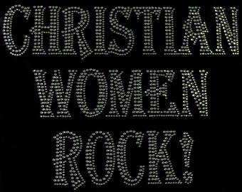Christian Women Rock! Rhinestone Iron on Applique