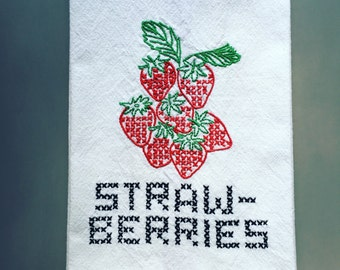 """NEW Strawberries Kitchen Towel or Tea Towel 100% Cotton 17"""" x 27"""" Hand Embroidered with red stripes"""