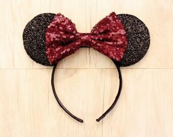 Maroon Disneyland Ears, Minnie Mouse Ears, Mickey Mouse Ears, Minnie Ears, Mickey Ears, Disney Ears, Red Sequin Bow, Disneyland Ears, Disney