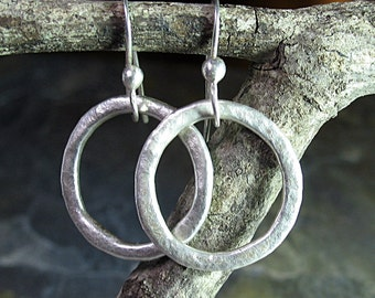 Hoop Earrings Rustic Silver - Summerlight Hoops