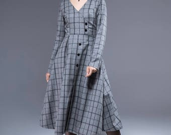 plaid dress, wool dress, winter dress, tiered dress, midi dress, V neck dress, pleated dress, womens dresses, retro dress, party dress 1813