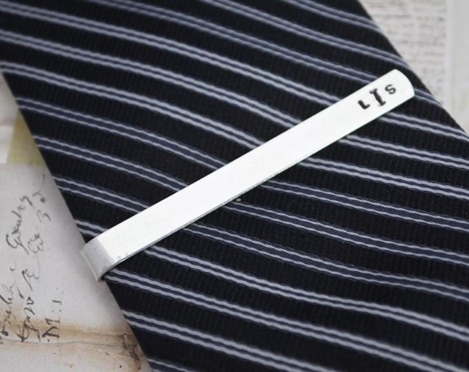 Tie Bar Personalized - Mens Custom Hand Stamped Tie Bar Groomsmen Best Man Gift Fathers Day Gift