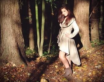 Women long coat, wrap coat, assymetrical coat, high low coat, tail coat women, big collar coat