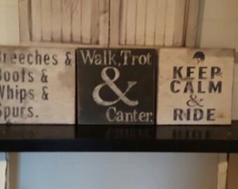 Rustic 3 piece set of riding signs/Equestrian /horseback riding/barn