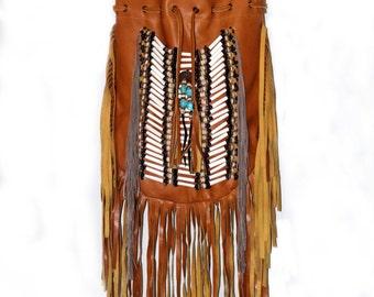 Fringe leather bag, boho leather purse, tan leather  handbag