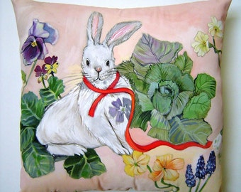 White Rabbit Pillow - Hand Painted Original Charming Spring Flowers 14 x 14 Sweet Decor Nursery Birthday Easter Celebration