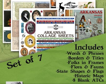 Arkansas Digital Collage Sheets, Vintage Image Printable, ATC, Instant Download, Americana