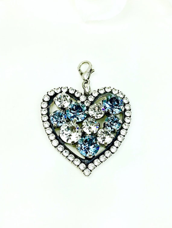 Swarovski Crystal - Heart Shaped - Add-On Charm - in Denim Blue, & Crystal - FREE SHIPPING - SALE - 35.