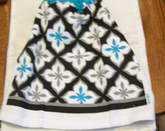 Black and Turquoise Retro  Crochet Top Kitchen or Bathroom Towel