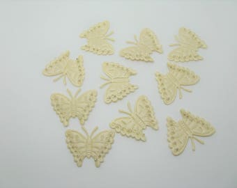 Set of 10 applications sewing satin cream butterflies design with silver edge of the wings - ref 6F seed beads