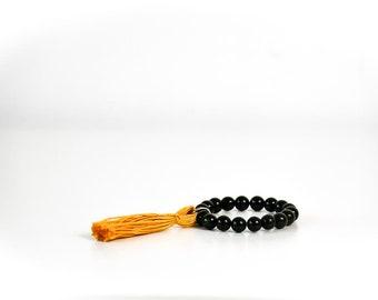 Black Beads/Yellow Tassel Bracelet