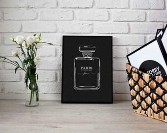 Perfume Print, French Decor, Fashion Art, Bathroom Decor, Paris Decor, Perfume Poster, French Wall Art, Vanity Decor, Perfume Bottle, Paris