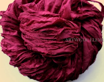 Pure Sari Silk, Dark Fuchsia Cherry, Fair Trade, 6 Yards, Textile Fiber, Yarn, Yarn, Ribbon, Silk Fabric, Green Silk, Artwear Elements, 151