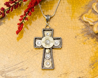 """Bullet Casing Jewelry - """"Make a Statement"""" Cross Bullet Pendant Filled w/ Bullets Necklace"""