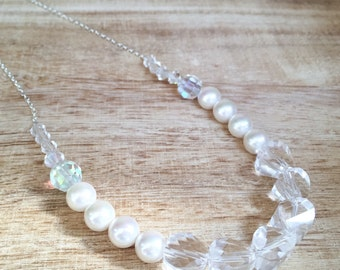 Faceted Quartz and Pearl Bridal Necklace