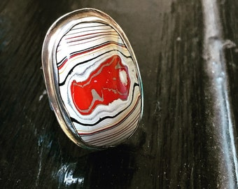 Gorgeous Fordite Sterling Silver Statement Ring