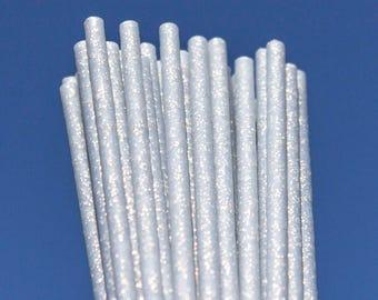 Zilveren Fairy Dust kunststof Lollipop Cakepop Sticks (150 x 4.5 mm) x 50 bruiloft Glitter