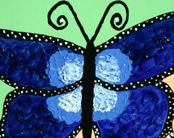 Blue Butterfly - Original Acrylic Painting
