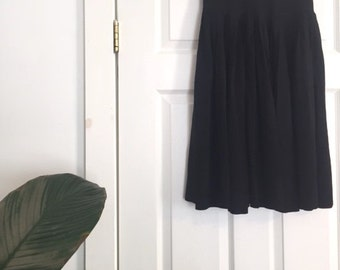 1940s Pleated Black Crepe Skirt