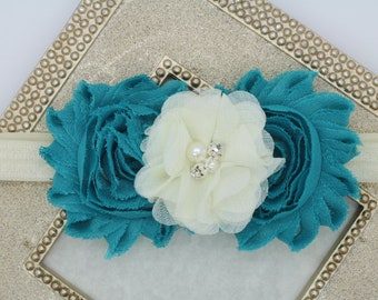 Teal blue headband, ivory and turquoise headband, teal elastic headbands, turquoise flower girl headband, teal hair piece, girls headband