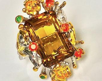 Majestic Grove' Magnificent Citrine Sapphire Emerald Ring Size 8