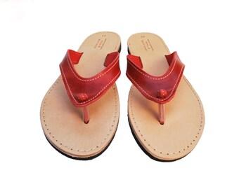 Rouge flip flop, sandales en cuir femmes, chaussures d'été