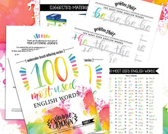 100 Most used English Words - Watercolor Brush Lettering Printable Practice Sheets - Over 100 pages - DIGITAL PDF file Only