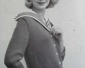 1950's Vintage Knitting Pattern Women's Sweater PDF Pattern 729-8