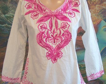 Embroidered Blouse, White Mexican Blouse, Long sleeve blouse, size S