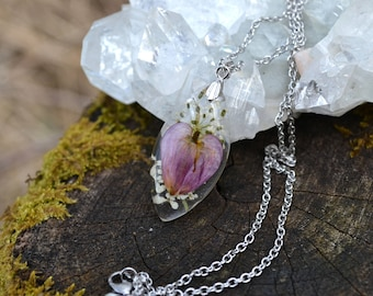 Real Pressed Bleeding Heart and Queen Annes Lace Flower Resin Botanical Boho Necklace Pendant