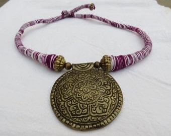 Indigo white thread Necklace,pendant Necklace,thread necklace, statement necklace, vintage gold Necklace, BridesmaidNecklace, Christmas gift