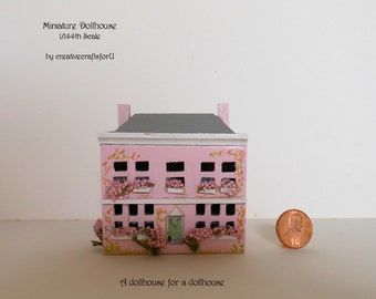 Miniature Dollhouse, 1/144th Scale, Dollhouse for a Dollhouse, use as a Toy in a 1/12th Dollhouse, 6 Rooms, Handpainted, Front Opening, OOAK