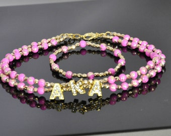 Pink N Flashy Set: Hot Pink and Golden Monogram Choker with Rhinestoned Charmed Letters