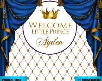 SALE Prince backdrop, Little Prince Baby Shower, Prince Birthday, Royal Blue Gold Party Prop, Photo Booth Prop, Royal Celebration digital