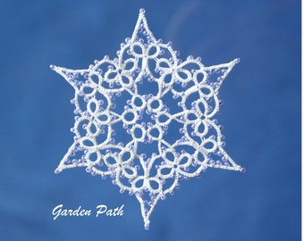 Garden Path tatting pattern PDF, tatted in white with beads makes a lovely snowflake
