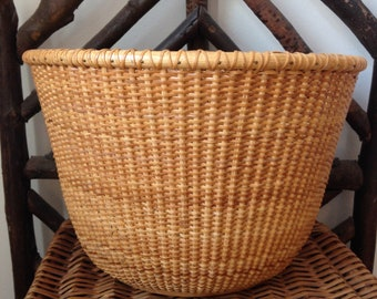 vintage Nantucket style bicycle basket wooden bottom large