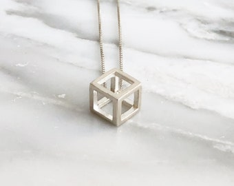 Sterling Silver Cube Necklace, 3D Cube Necklace, Geometric Necklace, Contemporary Pendant, Modern Necklace, Minimal Necklace, Geometric