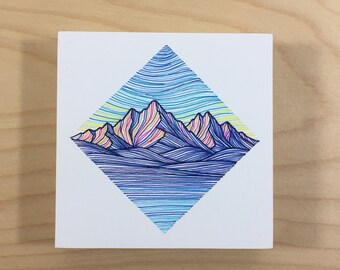 Small Mountain Block in Teal, Orange, and Blue - Original Pen Drawing on Wood - Colorful Mountain Art