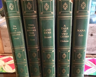 "Vintage 1940s ""World Famous Classics"" [5] Green Book Collection, Decorative Books, Display Books, Jane Eyre, Sherlock Holmes, etc."