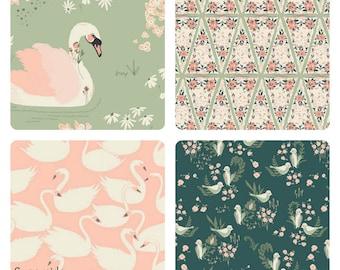 Hello Ollie Bundle Fat Quarter Half Yard and Yards  Art Gallery Fabrics Swans Organic Fabrics Flowers Green Pink Dabbling Swan Sage
