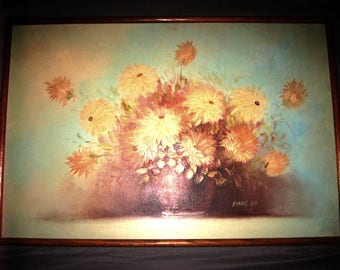 Vintage American Oil Floral Painting by Robert A. Cox