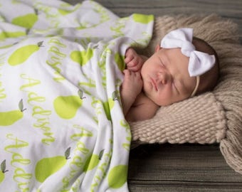 Personalized Swaddle Blanket - Perfect Pear – Personalized Swaddle Blanket / Baby Name Blanket - Fruit Name blanket